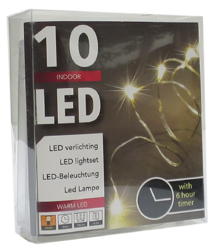 LED  String Chain Fairy Lights with Silver Wire  with 10 Micro LEDs 1mtr length  Plus TIMER